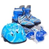 Коньки роликовые с набором защиты 3 ПВХ+ 1 PU со светом размер S30-34 синий 903СТ