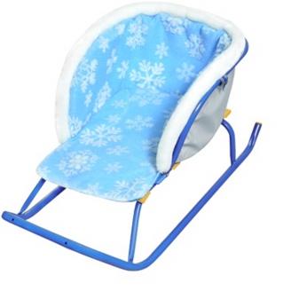 Сиденье для санок меховое без чехла для ног снежинки на голубом