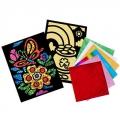 Аппликация из фольги самоклеющаяся 13х18х0,5см, картон 2 шт,12 листов 10х10см, 6 цветов 4 дизайна, 3
