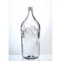 Бутыль стеклянная 5л с крышкой с виноградом