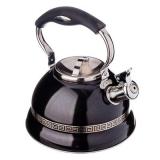 Чайник со свистком нержавеющая сталь 2,5л черный с золотом