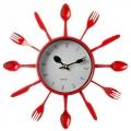 """Часы настенные """"Вилки-ложки"""" цветные, 25х25см, пластик, 3 цвета, 1хАА"""