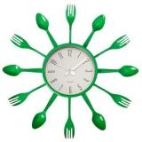 """Часы настенные """"Вилки-ложки"""" цветные, 33х33см, пластик, 3 цвета, 1хАА"""