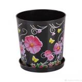 Горшок для цветов Камилла 1,2л пластик поддон черный
