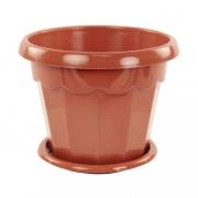 Горшок для цветов Гармония 1,5л пластик поддон коричневый