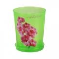 Горшок для цветов Для Орхидей 1,2л пластик поддон зеленый прозрачный