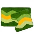 """Набор ковриков 2шт для ванной и туалета, акрил, 50x80см + 50x50см, """"Зелёный полосы"""", SCF14-004"""