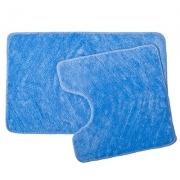 Набор ковриков 2шт для ванной и туалета, акрил, 50x80см + 50x50см, Лазурь