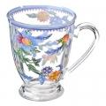 "Кружка стеклянная, 360мл, на ножке, ""Голубые цветы"""