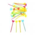 Пики декоративные 35шт 85мм Сердечко цветные
