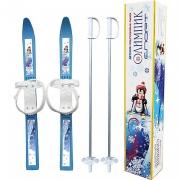 Лыжи детские Олимпик-спорт с палками 77см пластик