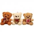 """Игрушка """"Медвежонок бантик с розочкой"""", полиэстер, 10х9см, 3 цвета"""