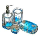 Набор для ванной 4 пр. акрил Ракушки с бисером 2853-S4-12B