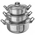 Набор кухонной посуды 6 пр., кастрюли 1,5л+2,1л+3,9л, с крышками, нерж.сталь