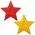 Набор украшений 24шт 5см, пластик, в виде звезд, 2 цвета: красный, золото