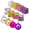 Набор украшений в тубе 5см, пластик, 4 цвета: золото, серебро, сиреневый, фуксия