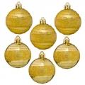 Набор шаров 6шт 5см, пластик, в полоску, цвет: золото