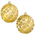 Набор шаров 2шт 8см, пластик, рифлёный ромб, 2 цвета: красный, золото