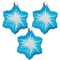 Набор украшений 3шт, 7см, пластик, в виде звезды, цвет голубой, SY14QJH-180