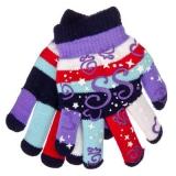 Перчатки детские двойные 14см на 6-10 лет, 95% акрил, 5% спандекс, 6 цветов, 2015-16