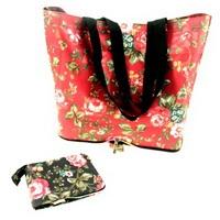 Сумка хозяйственная складная в кошелек, текстиль, 46х34х14,5см, Яблоневый цвет, 3 цвета