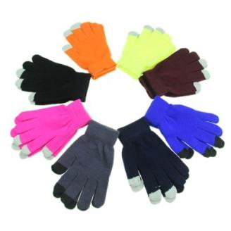 Перчатки молодежные Неон с сенсорными пальчиками, микс