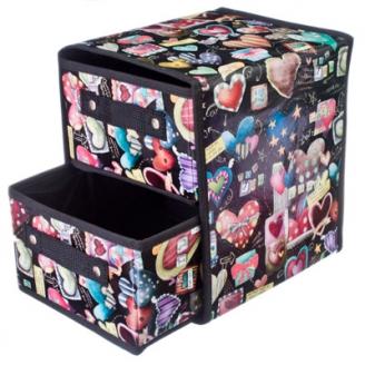 Кофр-короб складной влагонепроницаемый Сердца с двумя ящиками (с однотон наполн) 24х25х21,5см
