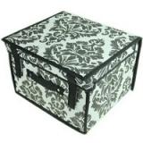 Кофр-короб складной, жесткий с крышкой и ручкой, Орнамент, 30x27x20 см, флизелин