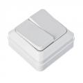 Выключатель двухклавишный белый, накладной 10А, 250В, пластик ABS
