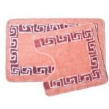 Набор ковриков 2шт для ванной и туалета, акрил, 50x80см + 50x50см, Греция, розовый