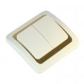 Выключатель Золотая Коллекция двухклавишный цвет белый с золотой вставкой 10А 250В керамика