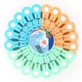 Прищепки пластик на круглом блистере 20 шт. цвет mix