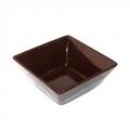 Тарелка суповая Гирра квадратная коричневая керамика 19см
