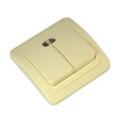 Классика Выключатель двухклавишный, с подсветкой, цвет бежевый 10А 250В, керамика