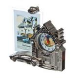 Часы + фоторамка Дом с машиной 13х18 см (пластик)