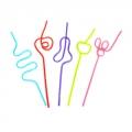 Трубочки для напитков Крэйзи, фигурные, цветные, 5шт (250мм)
