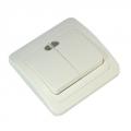 Классика Выключатель двухклавишный, с подсветкой, цвет белый 10А 250В, керамика