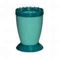 Горшок цветочный Каролина 1л с поддоном зелёный-бирюза