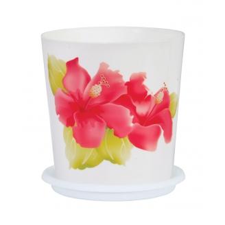 Горшок цветочный Совершенство 1,8л с поддоном белый