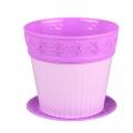 Горшок цветочный Лаура 2л с поддоном фиолетовый-темно фиолетовый
