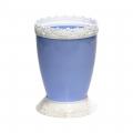 Горшок цветочный Каролина 1л с поддоном голубой-белый