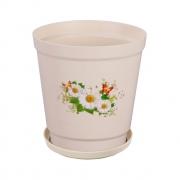 Горшок цветочный Ромашка 2л с поддоном светло-серый