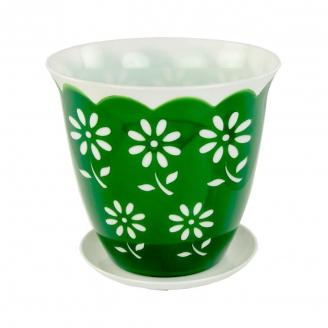 Горшок цветочный Соблазн 1,5л с поддоном зеленый