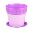 Горшок цветочный Лаура 1л с поддоном фиолетовый-тёмно фиолетовый