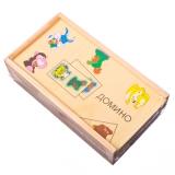 Игра настольная Домино 28 шт дерево 3 дизайна