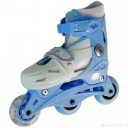 Коньки роликовые пластик аллюминий размер 31-35 голубой