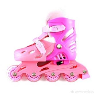 Коньки роликовые пластик аллюминий размер 36-38 розовый