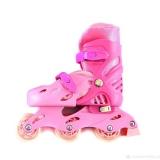 Коньки роликовые пластик аллюминий размер 31-35 розовый