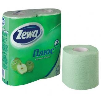 Бумага туалетная Зева Плюс 2-х слойная яблоко 4 шт