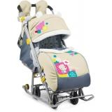 Санки-коляска Ника детям 7-2 Коллаж-Мишки бежевый